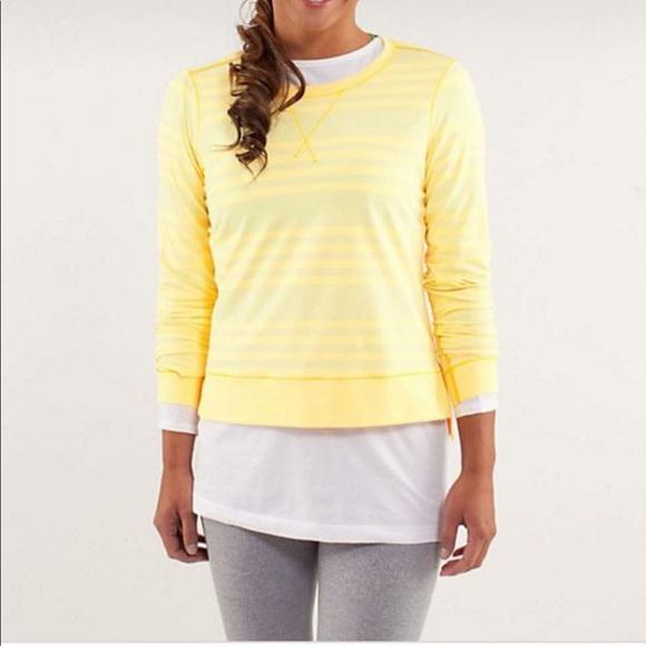 Lululemon Run: Warm Up Crew Yellow Stripe